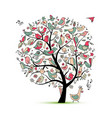 tree with birds sketch for your design vector image vector image