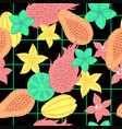 tropical fruit seamless pattern on black vector image