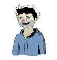 unshaven drunk man in hoodie vector image vector image