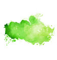 watercolor stain texture in green color shade vector image vector image