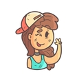 Winking Girl In Cap Choker And Blue Top Hand vector image vector image