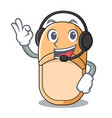 with headphone casual home slippers on mascot vector image