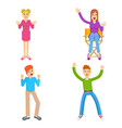 young friends set vector image