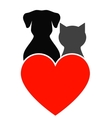 dog cat and heart vector image