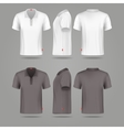 White black mens polo t-shirt front back and side vector image
