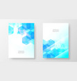 annual report design template blue hexagon vector image