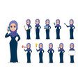 arabic business woman cartoon character set vector image vector image