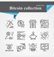 bitcoin outline icon set vector image vector image