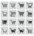 black shopping cart icons set vector image vector image