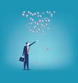 businessman and money rain concept business vector image