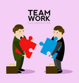 businessmen holding puzzle pieces teamwork vector image