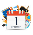 calendar icon of 1 september vector image vector image