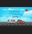 car on the way summer holidays coming vector image vector image