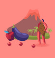 cave woman in animal skin stand near fruit and vector image