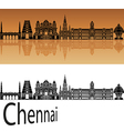 Chennai skyline in orange vector image vector image
