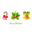 christmas icon set holly mistletoe jingle bell vector image vector image