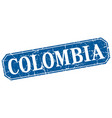 colombia blue square grunge retro style sign vector image vector image