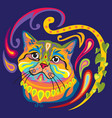 colorful zentangle cat 7 vector image