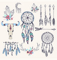 creative boho style frames mady ethnic feathers vector image vector image