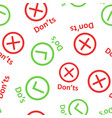 dos and donts sign icon seamless pattern vector image vector image