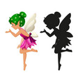 fairy characters and its silhouette on white vector image