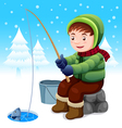 Fisherman in snow vector image