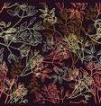 floral line flower leaves pattern fabric sketch vector image