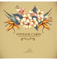 Floral Vintage Card with Exotic Flowers vector image vector image