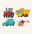 funny cute hand drawn cartoon vehicles baby vector image vector image