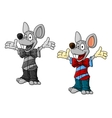 Happy cartoon mouse characters in clothes vector image