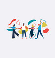 happy diverse friend isolated with abstract shapes vector image vector image
