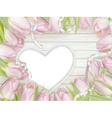 Heart frame with fresh tulips EPS 10 vector image vector image
