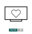 heart love symbol in television icon outline vector image vector image