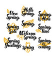 hello spring hand drawn quotes vector image