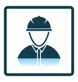 Icon of construction worker head in helmet vector image