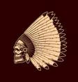 indian skull in native american headdress sketch vector image vector image