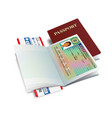 international passport with greece visa sticker vector image vector image