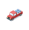 isometric red wagon car with blue barrels minivan vector image vector image