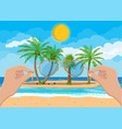 landscape beach hand with sunglasses vector image vector image