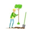 Man Planting A Tree Contributing Into vector image