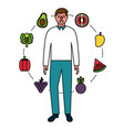 man with fruits and vegetables healthy food vector image vector image