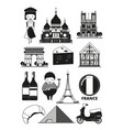 monochrome of french landmarks vector image vector image