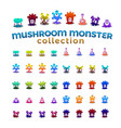 mushroom monster collection vector image vector image