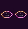 neon frame in lips shape template vector image vector image