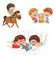of kids and animals vector image