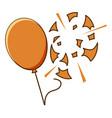 orange balloon popped on white background