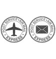 post service express postmarks with airplane and vector image vector image