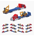 Red heavy truck with yellow excavator on the blue vector image