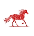 Red horse with floral ornament for your design vector image vector image