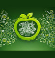 school horizontal chalkboard with apple vector image vector image